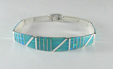 ".950 silver green opal bracelet with long curved centerpiece 8"" long"