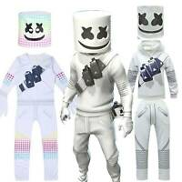 US Halloween Kids Boy Party Marshmallow Cosplay Costume Jumpsuit Mask Outfit Set