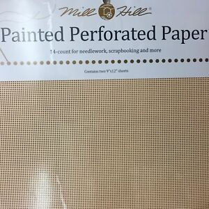 """Mill Hill 14 count Perforated paper 9 x 12"""" 2 sheets Peach Sorbet"""