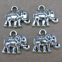 PJ58/20pc Tibetan Silver Dangle Charm Elephant Beads Animals Jewelry Findings