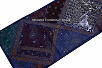 "60"" BLUE EMBROIDERED PATCHWORK WALL HANGING TAPESTRY Table Runner Indian Decor"