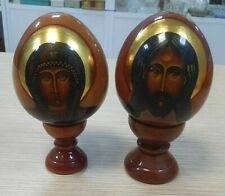 Russia Easter eggs of Jesus Christ and the Virgin Mary hand-painted