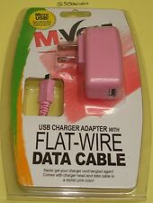 micro usb  PINK DATA CABLE & AC CHARGER for LG Tribute 5 / G Stylo / Volt 2