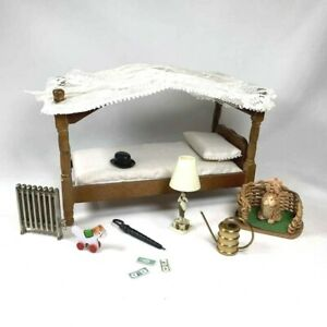 1:12 Scale VINTAGE MINIATURE LOT Canopy Bed Dog Bed Radiator Lamp Accessories