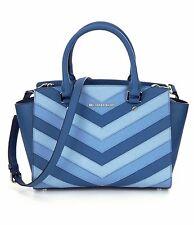 Michael Kors Selma Saffiano Leather Medium Chevron Top Zip Satchel (Sky Blue)