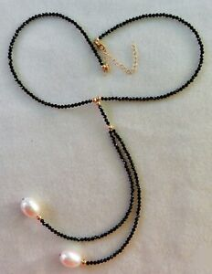 ELEGANT LARGE SOUTH SEA TEARDROP PEARL & FACETED ONYX 14K GOLD LARIAT NECKLACE