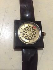 LUCERNE 1970'S WIND UP ART DECO ANIMATED Brown Kaleidoscope LUCITE WATCH