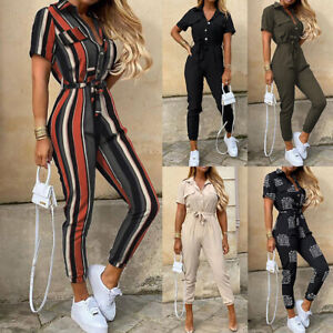 Lady Womens Short Sleeve Button Belt Playsuit Summer Casual V Neck Jumpsuit 6-18