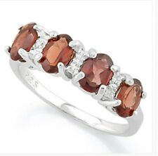 RUBY RED GARNET & DIAMOND SILVER RING 8.22 CWT WHITE GOLD LOOK  EARTH MINED STNS