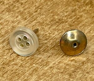 Vintage Button Clear White Tie Tack Clasp Pin Lapel Church Office Sew Tailor