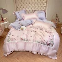 Pink Embroidered Mushroom Lace 4/6pcs Egyptian Cotton Embroidery Bedding Set