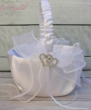 Beautiful White Flower Girl Basket, Satin Wedding Basket with Rhinestone Hearts