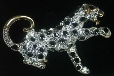 Yellow Gold Plated with Diamante Crystals Brooch Leopard shaped BR105 NEW