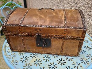 18th Century Chest coffer trunk hide covered antique dome topped