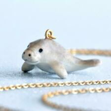 Manatee Necklace Porcelain Charm Hand Painted Pendant & Gold Chain