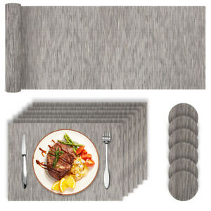 Set 13PZ PVC Place Mats Coasters Table Runner Dining Placemats Non-Slip Washable