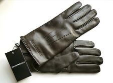 XL Genuine EMPORIO ARMANI Dark Brown Nappa Lamb Leather Gloves Wool Mens TAGS