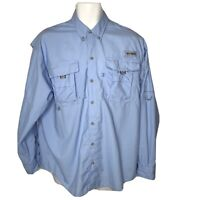 Columbia PFG Shirt Small Medium Mens Omni Shade Blue Button Long Sleeve Fishing