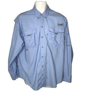 Columbia PFG Shirt Small Medium Mens Omni Shade Blue Button Long Sleeve Fishing
