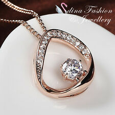 18K Rose Gold Plated Simulated Diamond Round Cut Shiny Curved Oval Necklace