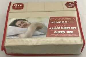 Infused Copper X Bamboo 2000 Series 6pc Queen Size Series Sheet Set Light Beige