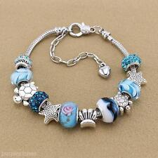 Women Adjustable Ocean Shell Blue Crystal Glass Beads Chain Bangle Bracelet Gift