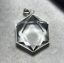 Natural Clear Quartz Crystal Star of David Silver Pendant Reiki Healing