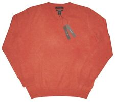 TAHARI HEATHER ORANGE PLUSH 100% CASHMERE PULLOVER V NECK SWEATER JUMPER XL