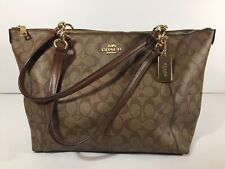 Coach New York Ava Signature Tote Bag Purse Handbag F58318 Dark Khaki/Saddle