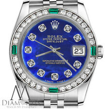 Ladies Rolex 26mm Datejust Blue Color Treated MOP Emerald Diamond Watch