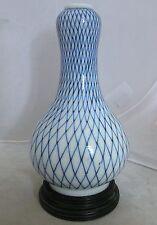 "Antique Japanese Porcelain Blue & White Gourd Vase w/ 6 Marks & Wood Stand (7"")"