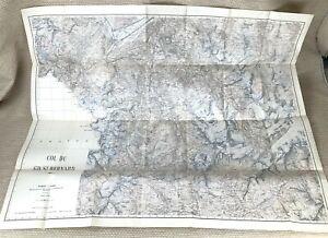 1938 Antique Map of Switzerland Great St Bernard Pass Valais Swiss Canton Alps