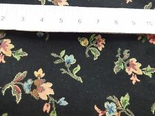 """Black Floral Brocade Fabric Remnant 54"""" x 32"""" Pink Blue & Green Flowers"""