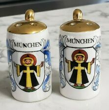 Vintage Porcelain German Beer Stein Salt and Pepper Shakers Munchen Germany