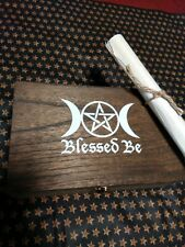 Triple Moon with pentagram witchcraft Wood Box Handmade and Stained full $100.00