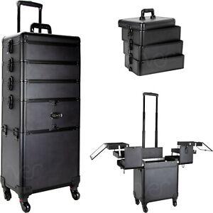 Professionals Aluminum Rolling Makeup Case Organizer Beauty Wheels Storage Large