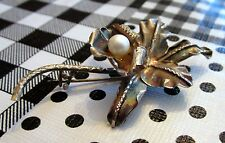 RARE 1940's Antique Hawaii Sterling Silver Large Hibiscus Pin Brooch