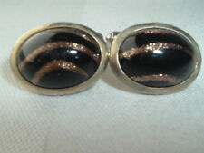 VINTAGE MENS CUFF LINKS BLACK GLASS COPPER GLITTER ACCENT
