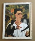 "1937 Frida Kahlo - ""Self Portrait With Monkeys"" White Distressed ITALIAN Wood"