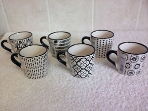 H&H Table Art Espresso Cup Set (x6) Black & Cream