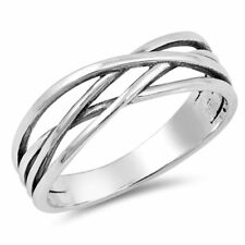 Celtic Band Ring Crisscross Simple 925 Sterling Silver Choose Color