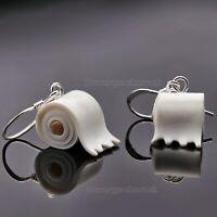 Klopapier Ohrringe Paar WC Lustige Toilettenpapier Hamsterkäufe 925er Silber