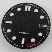 31MM Black Watch Dial White Marks Date Fit For ETA 2824 2836 MIYOTA 82 Movement