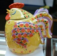 Dario Farrucci DESIGNS FAT YELLOW HEN WITH RED FLOWERS CERAMIC COOKIE JAR