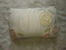 Fancy Designer Accent Throw Pillow White Pink Cream Flowe Ballet Princess Decor