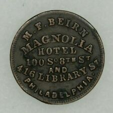 1863 Civil War Token Store Card M.F.Beirn Magnolia Hotel Philadelphia Pa Clipped