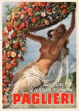 PUBBLICITA' 1949 PAGLIERI CIPRIE PROFUMI FIORI NUDO DONNA SENSUALITA' BOCCASILE