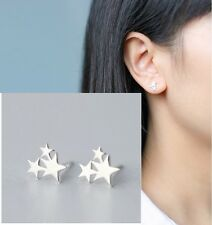 Minimal Dainty Delicate Silver Star Trio Petite Stud Earrings Climber Crawler