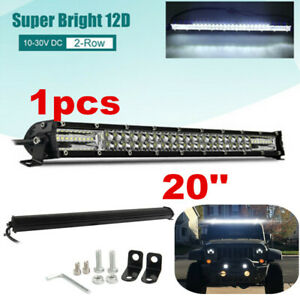 300W Super bright 20'' Flood Spot LED Work Light Bar For Truck Offroad 12V 24V