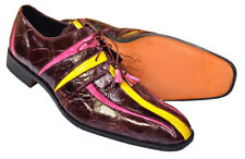 Mauri Italy Wine Fuchsia Yellow Handmade Italian Alligator Skin Shoes Size 12